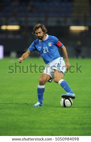 "Milano Italy 10/16/2012, ""Giuseppe Meazza"" Stadium, Brazil 2014 World Cup Qualification, Italy-Danimarca match: Andrea Pirlo in action during the match"