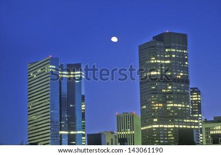Mile High City of Denver at twilight, Colorado - stock photo