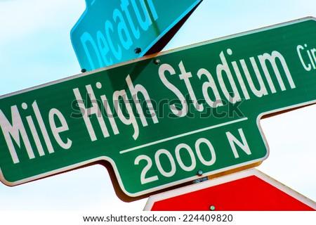 Mile High Stadium Street Sign Closeup. Denver, Colorado.
