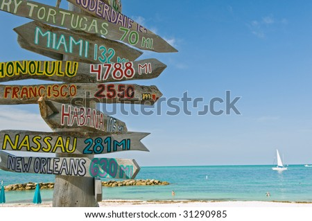 mileage signpost on key west florida beach, focus on signpost