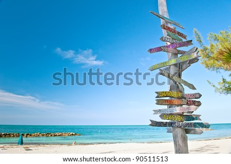 mileage signpost on key west florida beach, with copy space.  this is updated; see image number 93626098