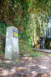 Milestone of Saint James way with pilgrim walking in the background