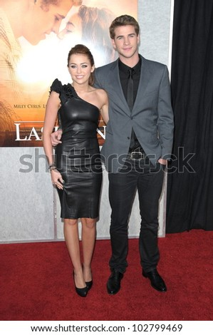"""Miley Cyrus and Liam Hemsworth at """"The Last Song"""" World Premiere. Arclight, Hollywood, CA. 03-25-10"""