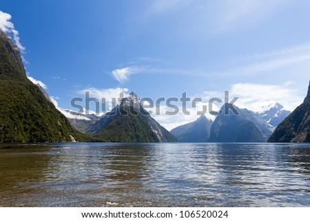 Milford Sound and Mitre Peak in Fjordland National Park, Southern Alps, New Zealand