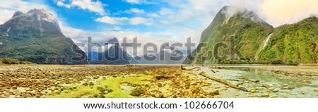Milford sound panorama. New Zealand fiordland