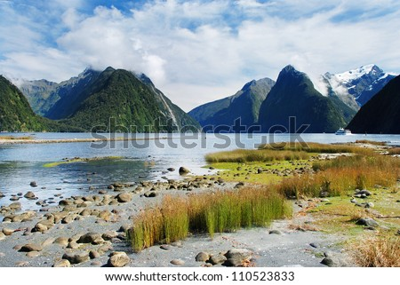 Milford Sound (Piopiotahi in Maori), fjord in the south west of New Zealand's South Island