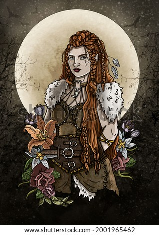 Militant dwarf girl with long hair and pigtails, a fairytale character close-up in a dress with fur pauldrons, a viking woman with a scar on her face in dark forest, against a bright moon and flowers. Photo stock ©