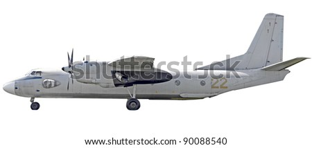 Military airplane isolated on white background