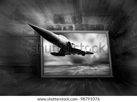 Military airplane on the speed, grunge background