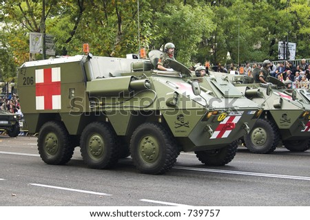 Military armoured ambulance (some blur)