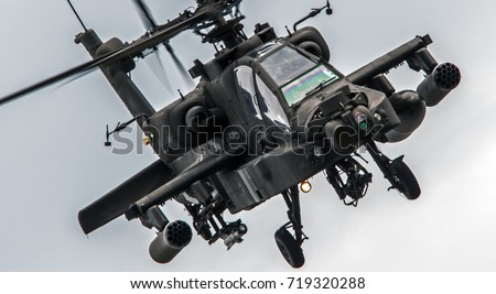 Military attack helicopter flying.