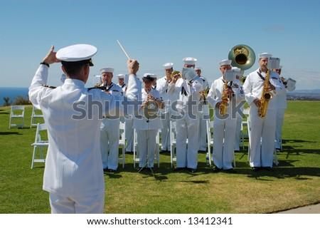 Military band; Navy Band Southwest; Mt Soledad Memorial; San Diego, California - stock photo