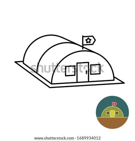 Military base with flag simple isometric line style 3D illustration. Adjustable stroke width.