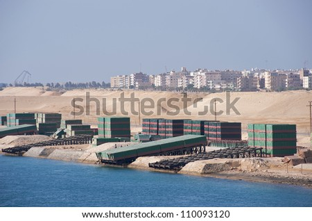Military bridges on the side of the Suez Canal