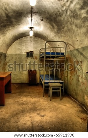 Military bunker.Soviet.Builded before WW2.After WW2 used as fallout shelter foe local Communist Party leaders.Korosten.Town near Chernobul area.Ukraine. - stock photo