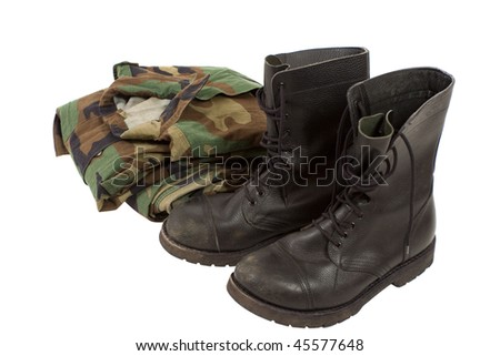 Military camouflage uniforms and boots
