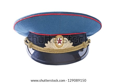 Military cap of the Soviet army officer, isolated over white