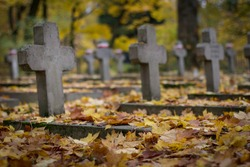 Military cemetery in autumn.  All Saints' Day