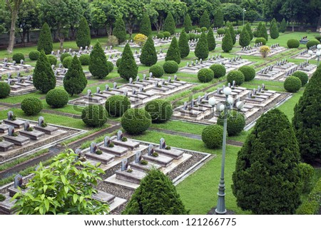 Military cemetery in Dien Bien Phu, Vietnam. DBP is a city in northwestern Vietnam, best known for the battle during the First Indochina War.