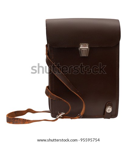 military commander's brown leather bag for documents