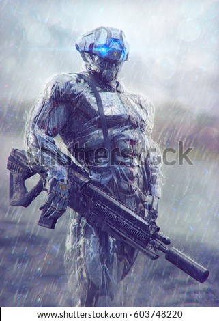 Stock Photo Military cyborg stands in the rain. 3D illustration