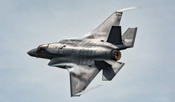 Military F35 fighter jet flying
