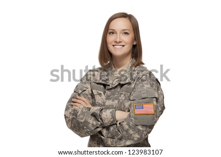 Military female with her arms crossed