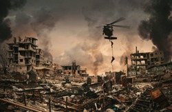 Military Forces between smoke and ruins roping to destroyed city