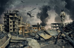 Military forces & helicopters in destroyed city