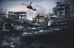 Military forces roping to destroyed city to find leader of enemy.