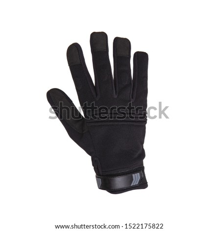 Military gloves, tactical gloves, protective gloves isolated white background. Wrist. Hunting Full Finger Gloves isolated on white