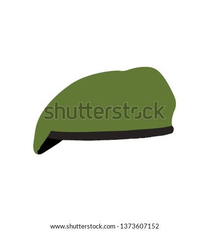 Military green beret on white background