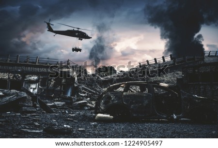 Military helicopter and forces in destroyed city to find leader of enemy.