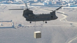 Military Helicopter in Afghanistan with an external load