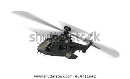 military helicopter in flight isolated on white - 3d rendering
