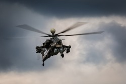 Military helicopter in the sky