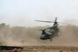 Military helicopter taking off
