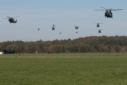Military helicopters above Deelen in The Netherlands