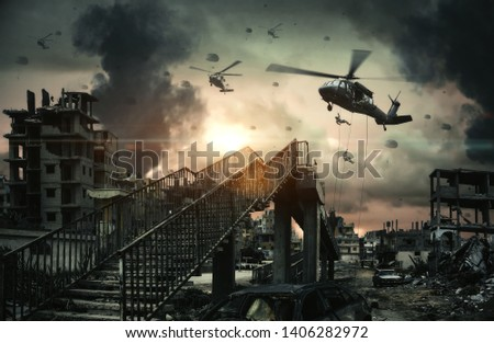 Military Helicopters & forces in destroyed city, houses and cars at Unfair war/Aerial bombardment