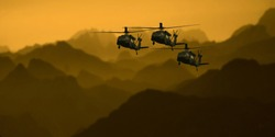Military helicopters in the evening light in the mountains