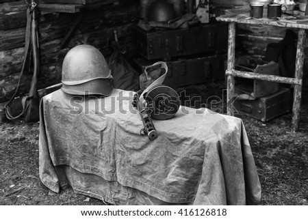 Military helmet and submachine gun Shpagina, reconstruction of life and subjects Soviet army during second world war