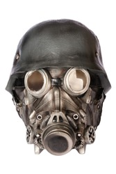 Military Helmet with Goggles and Gas Mask isolated on White Background