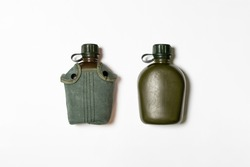Military Hip water Flasks Mock up isolated on white background.High resolution photo.
