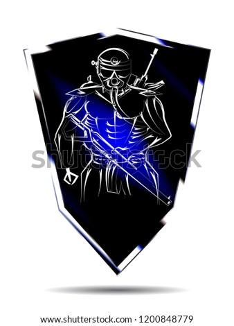 Military logo in exoskeleton