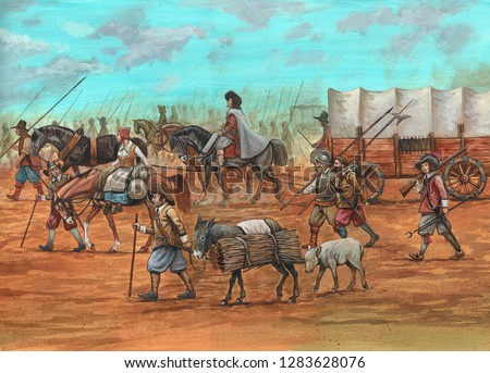 Military march. Thirty years war. Historical illustration.