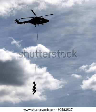 Military mission by helicopter