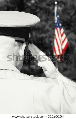 Military officer rendering honors by saluting American flag