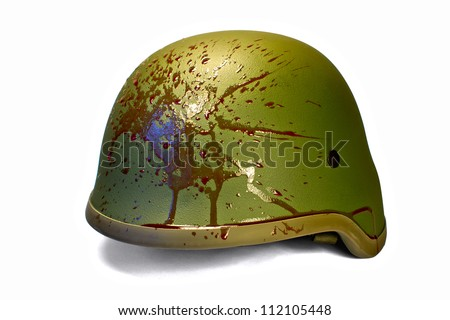 Military or police helmet with blood splattered, isolated on white, clipping path (without shadow).