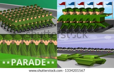 Military parade banner set. Cartoon illustration of military parade banner set for web design