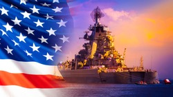 Military parade of American troops. A warship with sailors on the deck against the background of the us flag. American fleet. The naval forces of America. Protection of the country's water borders.